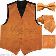 ORANGE XS - 6XL Paisley Tuxedo Dress Vest Waistcoat & Neck tie & Bowtie Hanky