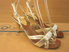 New Womens Wedding Party Evening Gold Sandal Shoes Open Toe Heels Diamonds Sizes