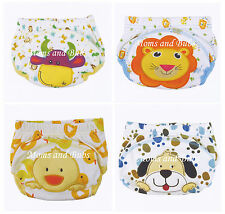 4x Pack Unisex Potty Toilet Training Pants Cow Dog Duck Lion Designs