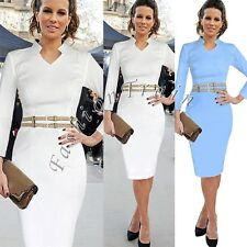 Women's Celebrity Belted Cocktail Party Fitted Bodycon Pencil Sheath Midi Dress