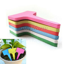 100pcs 6 x10cm Plastic Plant T-type Tags Markers Nursery Garden Labels Stick
