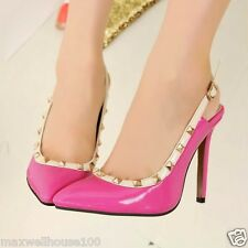 Women's High Heels Pointed Toe Stiletto Slingbacks Rivets on Side Shoes Hot 1nM