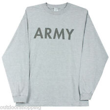 Heather Grey Reflective Army One Sided Black Imprinted Long Sleeve T-Shirt