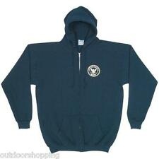 Navy Blue US NAVY LOGO IMPRINTED ZIP-UP HOODED SWEATER - Winter Warm, USN