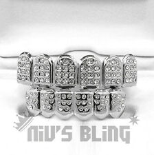 Silver ICED OUT CZ Teeth Top Bottom GRILL Set Tooth Caps Hip Hop Bling NEW 2STB