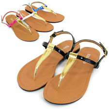 Womens T-Strap Slingback Sandals Strappy Gladiator Thongs Flip Flops Flat Shoes