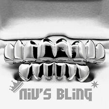 14k White Gold Plated Custom 8 Tooth Top Bottom GRILLZ  Silver Mouth Teeth NEW