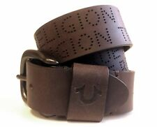 True Religion Jeans Men's Perforated Leather Belt Brown *RUNS SMALL TUS150036