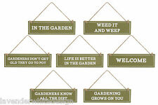 Quirky Wooden Green and White Gardening Signs - Eight Designs Available