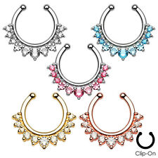 1pc Non-Piercing Line Gems Septum Hanger Clip-On Fake Nose Ring Body Jewelry