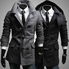 Hot casual Men's Slim Fit Winter Trench Coat Wool Long Jacket Overcoat Thicken l