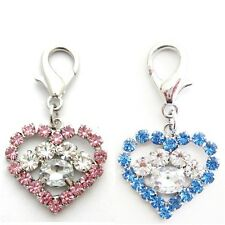 Pink/Blue rhinestones Heart&Paw charm,PET DOG PUPPY collar charm jewelry