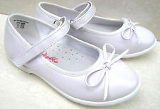 GIRLS WHITE LEATHER INSOLE BRIDESMAID WEDDING COMMUNION FLATS BRIDAL PARTY SHOES