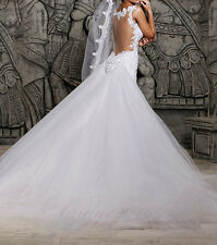 New Mermaid White/Ivory Wedding Dress Bridal Gowns With Removable Train