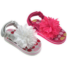 Infant GIRLS First Walker Toe Post Dotty Sandals with WHITE flower puff detail