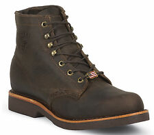 Men's Chippewa Boots USA Made Shoes Plain Toe Brown Lace-Up 20065 Wide