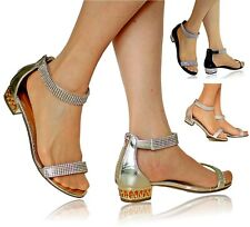 NEW Ladies Party Sparkly Diamante Ankle Straps Low Flat Heel Shoes Sandal Size