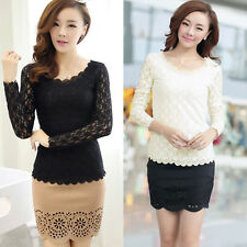 Sexy Womens Fashion Lace Long Sleeve Slim Fit T-shirt Casual Blouse Tops Basic