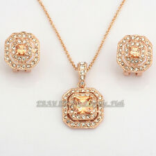 Fashion Simulated Topaz Ruby Earrings & Necklace Jewelry Set 18KGP Rhinestone CZ