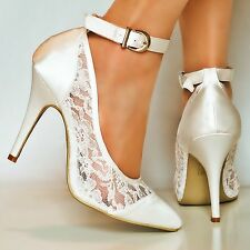Ladies Satin Floral Lace High Heel Ivory / White Party Bridal Court Shoes Size