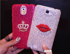 Crown Sexy Lips Bling Diamonds Glitter Case Cover For Samsung Galaxy Note 3 SZS