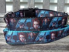 Super Hero Dog Collar Comics Avengers inspired Ribbon Collar Leash Martingale
