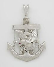 925 Sterling Silver CZ Eagle Cross and Anchor Large Charm Pendant [2 Sizes]