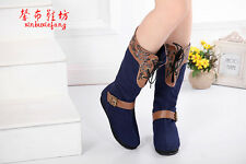 Exclusive Vintage embroidered Denim boots-Women boots-FLOWER Denim Boots PEfect!