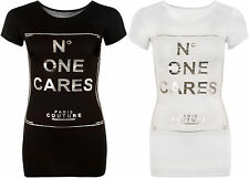 New Womens Silver Slogan Text No One Cares Print Short Sleeve Ladies T-Shirt Top
