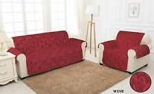 RED QUILTED Jacquard Slip Sofa Settee Cover Throw Protector Sizes: 1,2,3 Seater