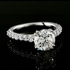 3.05 CT ROUND CUT ENGAGEMENT RING SOLID 14K WHITE GOLD