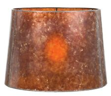 Antique Amber Parchment Deep Drum Mica Shade Floor Lamp Table Lamp Vintage Style