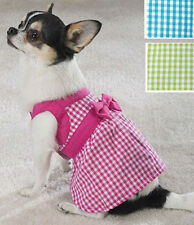 GINGHAM COTTON DOG DRESS W/BOW (Clearance)