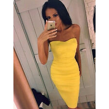 Women Sexy Yellow Strapless Backless Bodycon Night Club Dress Cocktail Dresses