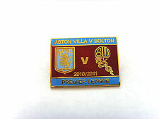 Aston Villa v Bolton Wanderers 2010/11 Match Day Badge - Gilt Football Badge