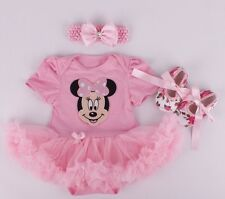 3Pcs Minnie Mouse Baby Girl clothes Romper With Tutu Dress Outfit Set 0-3-6-12m