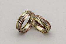 10KT GOLD  TRICOLOR HIS AND HER WEDDING BAND RING SET SZ 4-15 FREE ENGRAVING