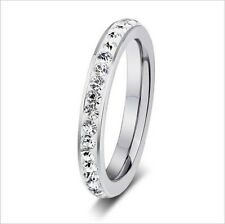 3MM Titanium shining CZ Engagement Lady Wedding Ring CZ Crystal SZ J-R