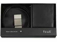MENS GIFT SET FRENCH CONNECTION FCUK BELT & WALLET IN BLACK COLOUR BELT S TO XL