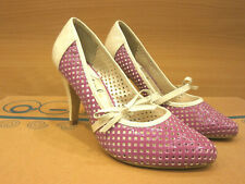 New Vintage Retro Pumps Heels Womens Shoes 50's 60's Purple Pin Up Rockabilly  L