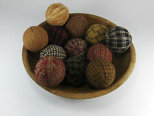 "12 Primitive Country 2"" Homespun Fabric Rag Balls Jar Bowl Basket Filler Black"