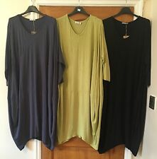 NEW Ladies Oversized Lagenlook Cocoon Jersey Tunic Dress Top Long One Size