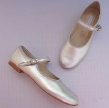 NEW MARY JANE BUCKLE SHOES BY ELEPHANTITO METALLIC SILVER LEATHER.SIZE UK10 & 1.