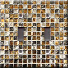 Light Switch Plate Cover - Square radium glass mosaic faux finish - Wall tile