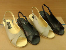 New Leather Womens Cork Mini  Wedge Platform Shoes Sandals Heels Black Beige