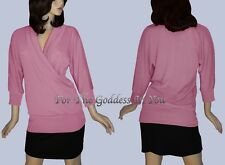 T79 PINK ROSE WRAP ACROSS LONG SLEEVE KNIT TUNIC TOP WOMENS SIZE M L XL
