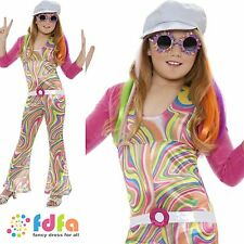 KIDS 1960s GROOVY GLAM JUMPSUIT & HAT - all ages 7-12 years - girls fancy dress
