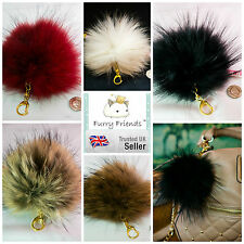 3 FOR 2! 18cm OVER SIZED Keyring REAL Raccoon Fur Women's Accessory Bag Charm DG