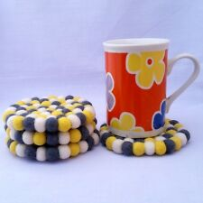 10cm Yellow,White & Gray Colours Nepalese Handmade Round Felt Ball Tea Coasters