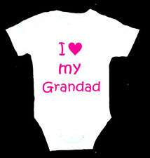 PERSONALISED I LOVE GRANDAD GRANDPA GRAMPS DAD DADDY BABY CREEPER BIRTHDAY GIFT